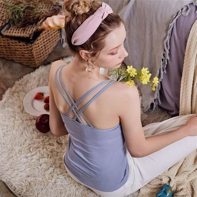 瑜伽吊带带胸垫上衣外穿潮美背夏季打底内搭露背一体式内衣女简约