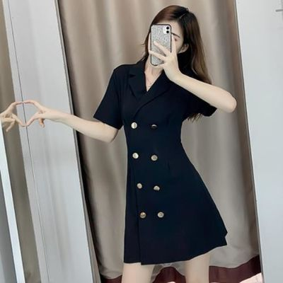 2020年夏季新款女装网红气质韩版修身显瘦双排扣黑色西装连衣裙子