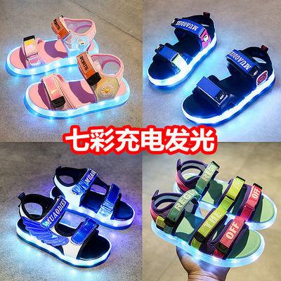 儿童凉鞋女童夏季新款中大童带灯闪灯亮灯鞋充电男童防水发光凉鞋