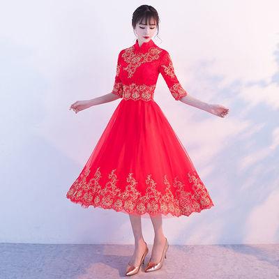 敬酒服新娘2020新款显瘦订婚旗袍宴会礼服回门结婚红色连衣裙女夏