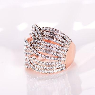 戒指女时尚个性食指韩版满钻多层编织缠绕镀玫瑰金戒子环夸张大气