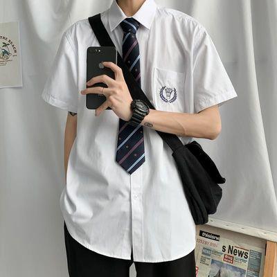基础款原创jk衬衫短袖女学生学院风夏季dk制服男韩版刺绣白色衬衣