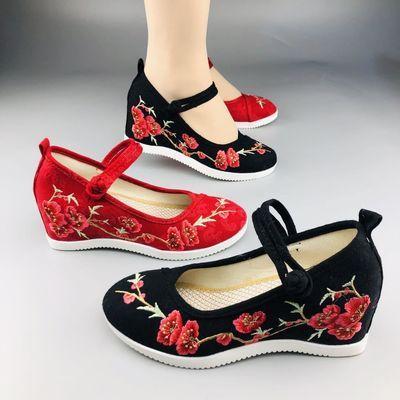 广场舞鞋绣花鞋内增高女鞋透气妈妈鞋老北京布鞋2020年新款汉服鞋
