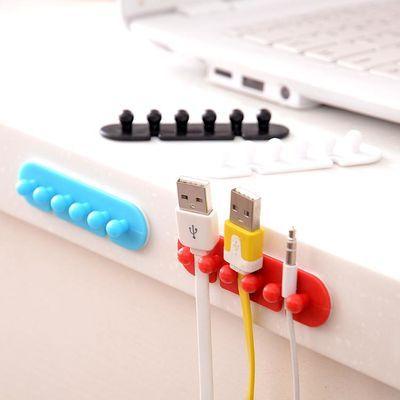 2个装插头电线整理固定夹带粘胶集线器电源线绕线器卡扣理线器