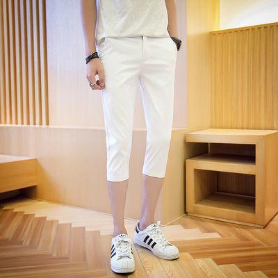 夏季七分裤男潮流韩版修身直筒休闲百搭7分白色西装短裤子潮牌in