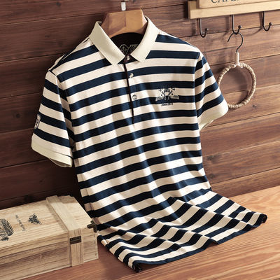夏季新款t恤男短袖宽松翻领条纹POLO衫宝蓝色青中年半袖衣服薄款