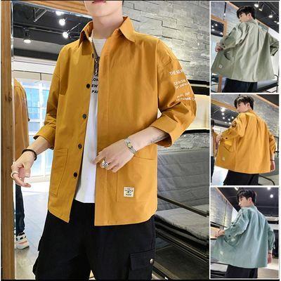 夏季七分袖工装短袖衬衫男士休闲衬衣帅气寸衫韩版潮流外套上衣服