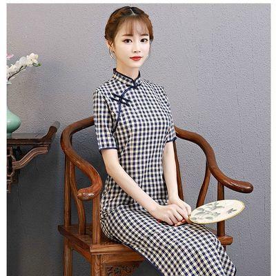 棉格子旗袍中长款修身显瘦文艺民族风改良淑女气质连衣裙2020新款