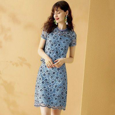 蕾丝短裙套装女夏季2020新款时尚吗名媛气质显瘦上衣两件套套装裙