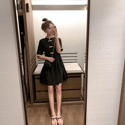 连衣裙女气质立领盘扣仙女裙复古中国风裙子拼接蕾丝收腰显瘦短裙