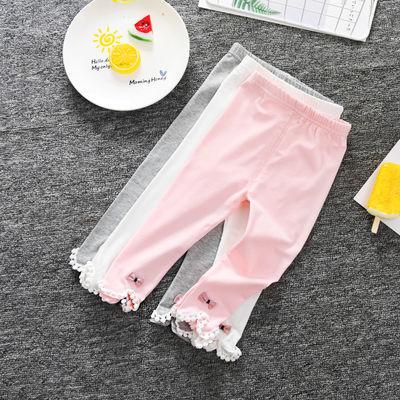 超薄款装夏季长裤子棉女宝宝2/3女婴幼儿童1岁弹力打底透气白色春
