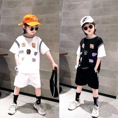 儿童套装男童短袖套装中大童纯棉运动韩版帅气运动儿童篮球服套装