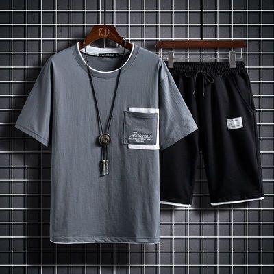 夏季男士韩版运动服休闲套装潮流男装搭配一套帅气短袖T恤ins短裤