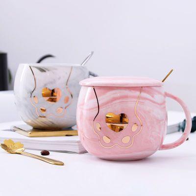 创意可爱猫爪杯大理石纹陶瓷水杯情侣马克杯女男家用咖啡杯子盖勺