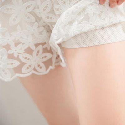 蕾丝打底裤女夏短裤防走光可外穿时尚宽松大码夏季薄款不卷边白色