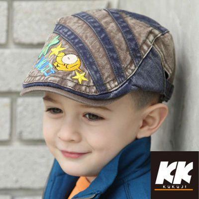 儿童春季韩版贝雷帽男童帅气潮帽宝宝英伦刺绣鸭舌帽子小孩牛仔帽