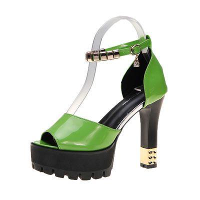 2020夏季新款凉鞋女厚底高跟鞋12cm超高跟粗跟鱼嘴单鞋婚舞走秀鞋