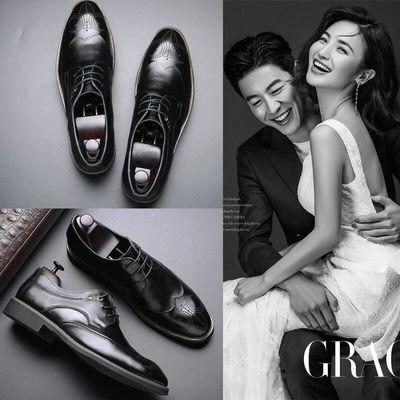 新郎结婚皮鞋布洛克真皮男士韩版潮流商务休闲正装鞋大码西装鞋子