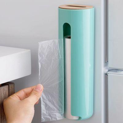 实木盖塑料收纳盒垃圾袋整理盒 带吸盘厨房壁挂塑料袋杂物储物盒