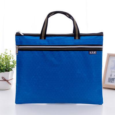 A4商务文件袋双层拉链收纳袋男女士公文包女手提帆布资料袋文具袋
