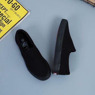 新款低帮情侣版一脚蹬懒人鞋女全黑色工作鞋帆布鞋女平底百搭板鞋