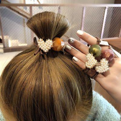 可爱仿珍珠桃心头绳女简约韩版网红发圈韩国少女甜美皮筋头绳头饰