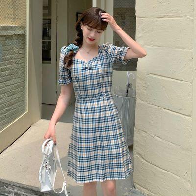 法式泡泡袖小心机连衣裙格子约会小裙子加肥加大码女装200斤胖妹