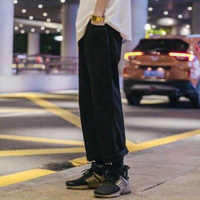 四季百搭ins陈冠希休闲裤日系直筒工装裤男宽松纯色港风潮牌长裤
