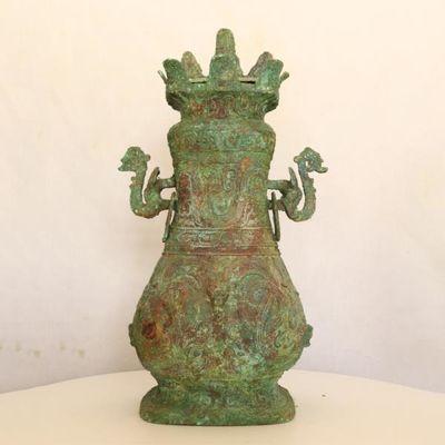 龙纹方壶龙头方瓶青铜器古董古玩收藏品博物馆复制品仿古铜器礼品