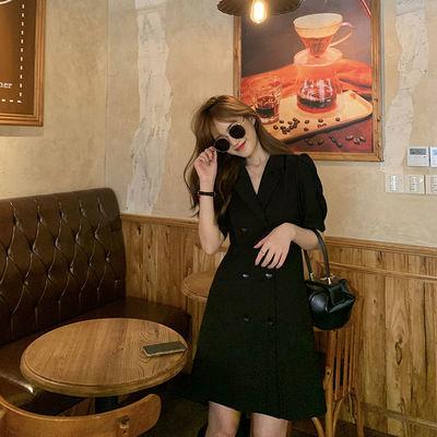 【胡楚靓比弗利名媛】韩版时尚气质百搭显瘦黑色双排扣西装连衣裙