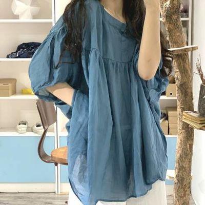 大码防晒衫夏季文艺雪纺衫超宽松显瘦蝙蝠袖轻薄中长款衬衫罩衫女