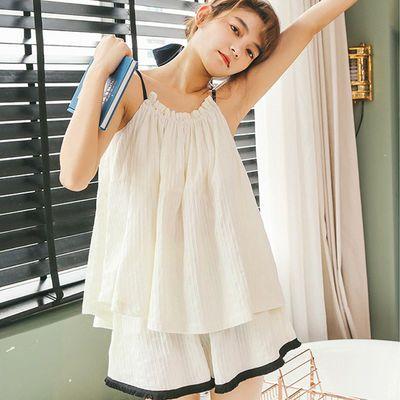 纯棉吊带睡衣女夏季甜美两件套装女韩版宽松夏天学生家居服可外穿
