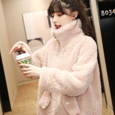 羊剪绒大衣2020冬装新款颗粒羊毛皮毛一体羊羔毛外套女皮草宽松版