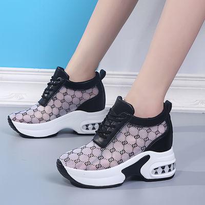 夏季网面内增高女鞋2020新款镂空运动鞋韩版百搭透气休闲小白鞋女