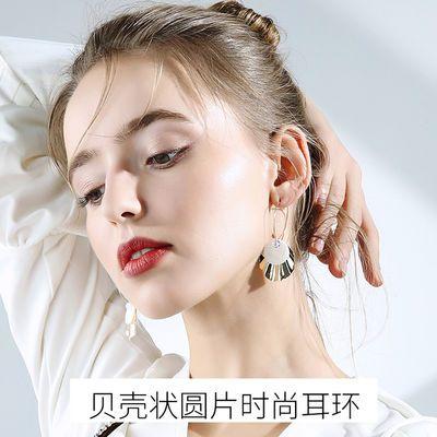 贝壳状圆片时尚高级感耳环女长款气质2020新款耳坠韩国版潮人耳钉