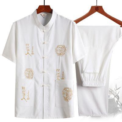 夏季中老年人短袖唐装男士休闲两件套装中式中国风爸爸装爷爷汉服