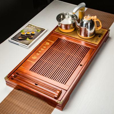 衍杨 大中号茶盘茶托木质茶台茶海功夫茶具套装连体自动玻璃电器
