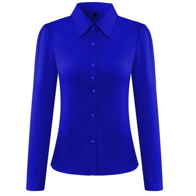 2020秋款白色韩范职业衬衫女长袖大码修身宝蓝色打底衬衫工作服女