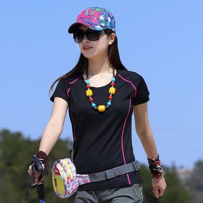 夏季速干T恤 速干衣女圆领运动T恤女吸汗透气徒步圆领短袖运动衫