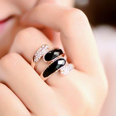 黑宝石食指戒指女时尚潮流个性网红韩版手饰品夸张简约玫瑰金指环