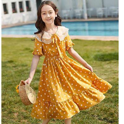 女童连衣裙儿童公主裙娃娃领翻领波点2020新款夏季女大童女孩洋气