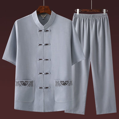 夏季短袖唐装男休闲套装中国风男士爸爸装中老年人汉服爷爷太极服