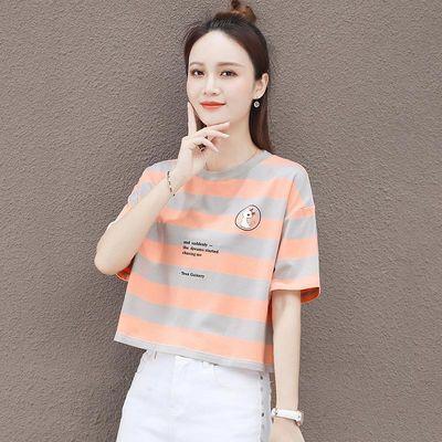 棉 条纹t恤女2020夏装新款韩版宽松时尚短袖短款百搭洋气休闲上衣