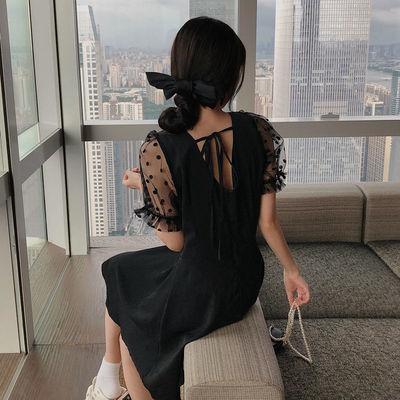泡泡袖法式方领小香风连衣裙公主裙黑色加肥加大码女装200斤胖妹