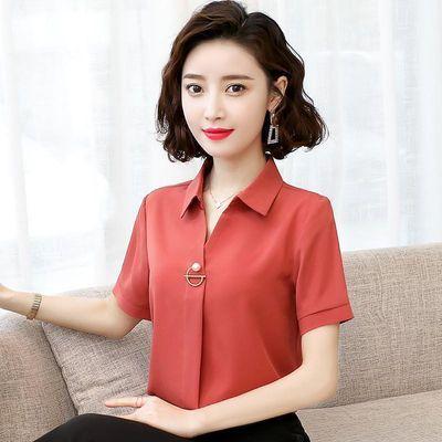 气质v领雪纺衬衫女长袖2020春夏装新款韩版套头职业上衣短袖