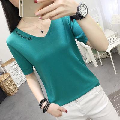 宽松显瘦【90-200斤】冰丝短袖T恤女夏季大码刺绣纯色体恤针织衫