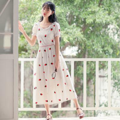 复古文艺森系少女学生甜美仙女小个子超仙草莓印花白色刺绣连衣裙