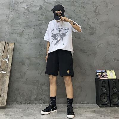 夏季韩版休闲五分裤子男复古刺绣潮流男女学生bf宽松百搭运动短裤