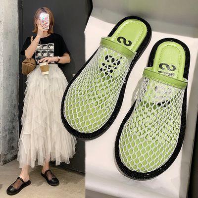 凉拖鞋女外穿新款夏季休闲凉鞋网红时尚平底沙滩鞋网面镂空包头拖