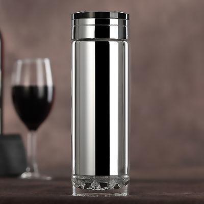 高档水晶真空保温杯玻璃双层保温杯男女泡茶杯大容量定制礼品杯子